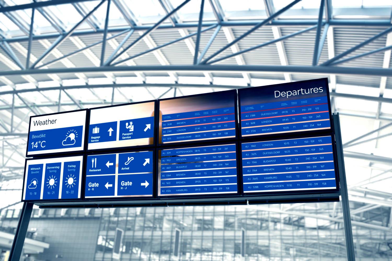 huge blank screens in a modern airport