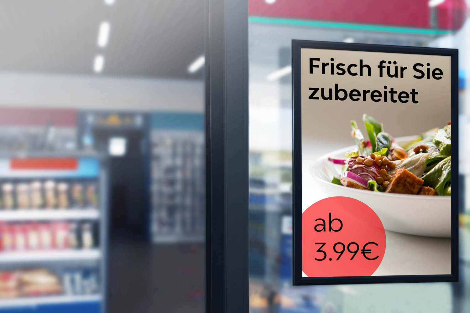 Blank advertising billboard placard (Clipping Path) in the market window with blurred merket background