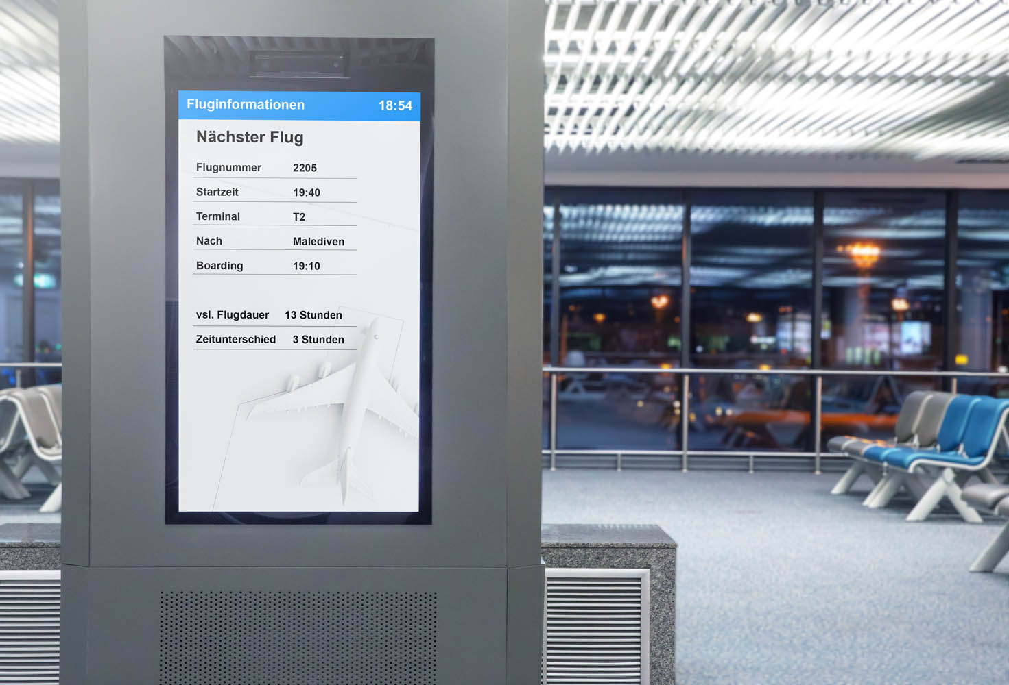 Digital Media Blank billboard in the airport and background blur , signboard for product advertisement design
