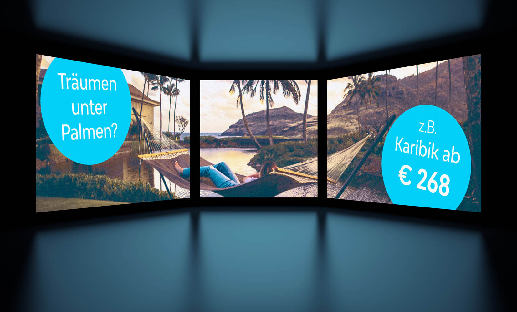 3d Illustration of White Screens on Black Background